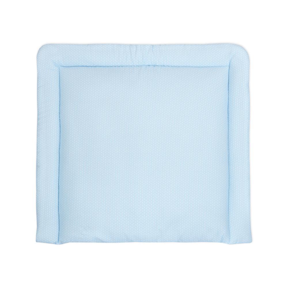 KraftKids Wickelauflage kleine Blätter hellblau auf Weiß breit 60 x tief 70 cm passend für Waschmaschinen-Aufsatz von KraftKids