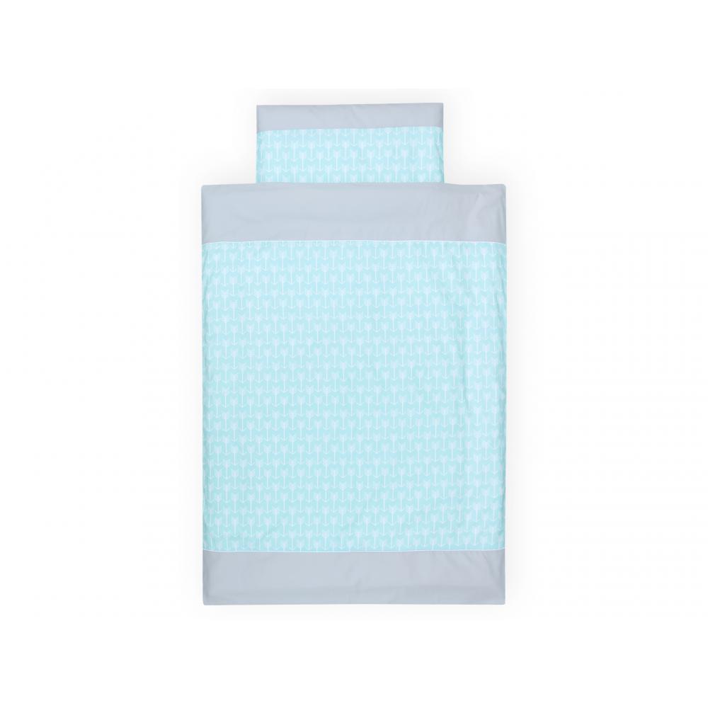 KraftKids Bettwäscheset weiße Pfeile auf Mint 140 x 200 cm, Kissen 80 x 80 cm