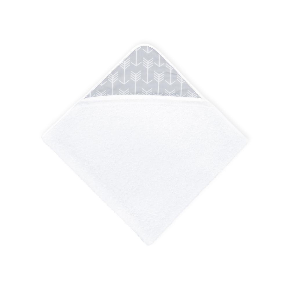KraftKids Kapuzenhandtuch weiße Pfeile auf Grau