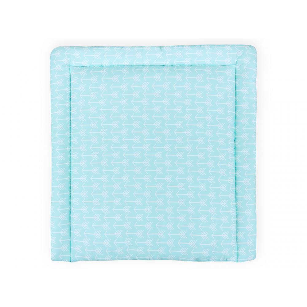 KraftKids Wickelauflage weiße Pfeile auf Mint breit 60 x tief 70 cm passend für Waschmaschinen-Aufsatz von KraftKids
