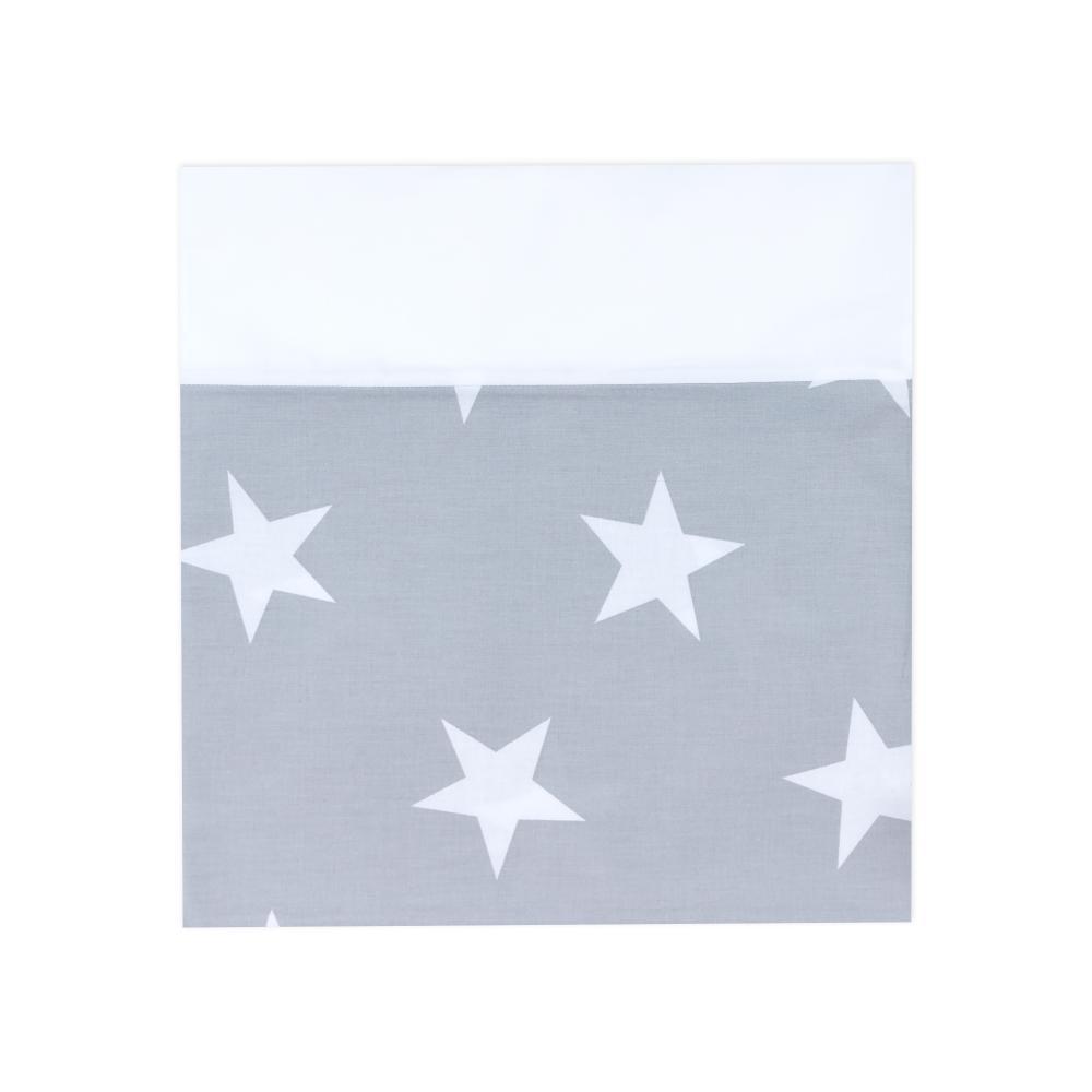 KraftKids Stilltuch große weiße Sterne auf Grau und Uniweiss