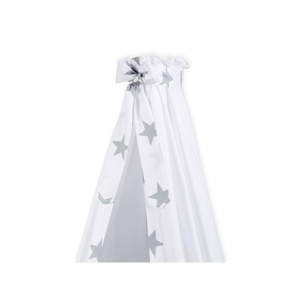 KraftKids Betthimmel große graue Sterne auf Weiss
