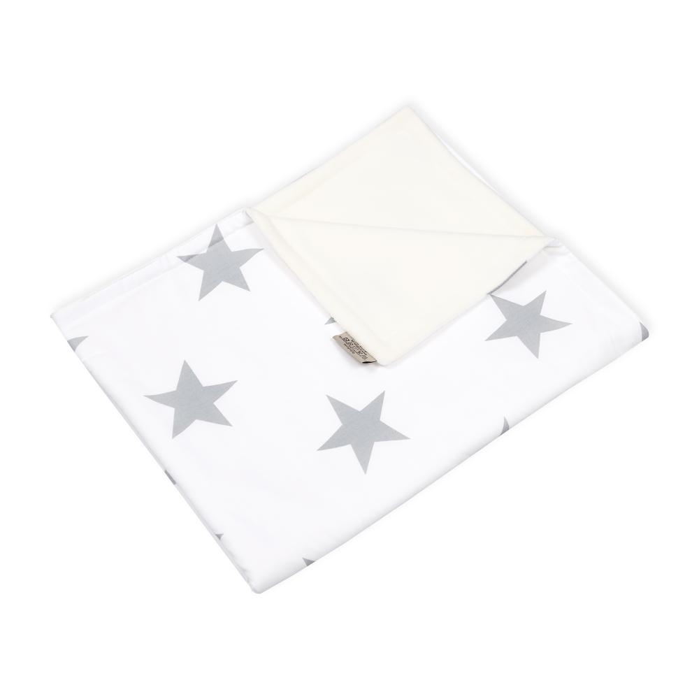 KraftKids Babydecke große graue Sterne auf Weiss