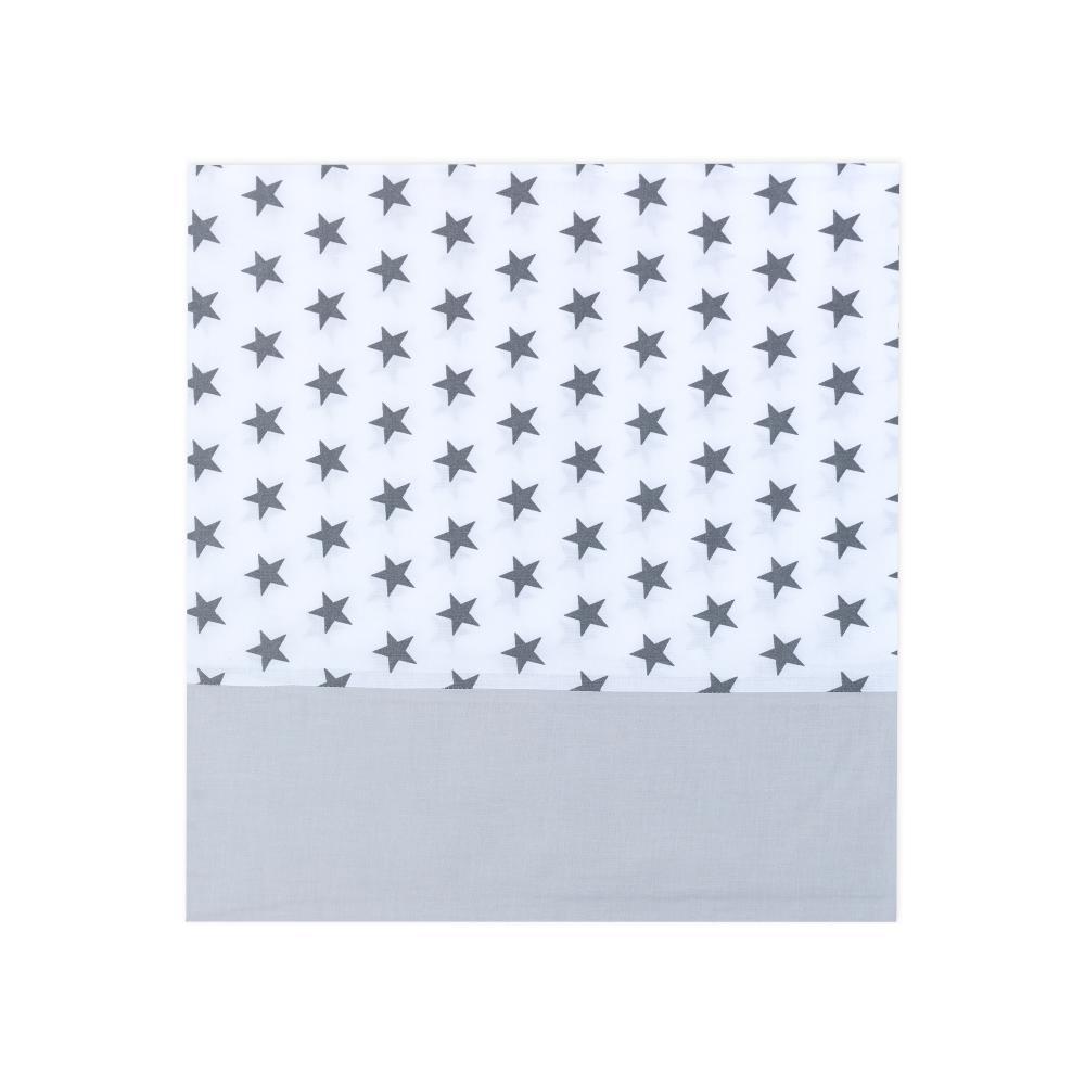 KraftKids Stilltuch Unigrau und kleine graue Sterne auf Weiss