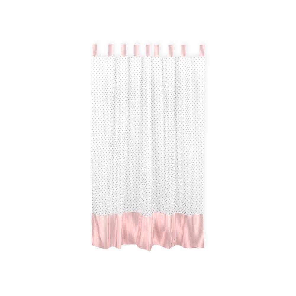 KraftKids Gardinen graue Punkte auf Weiss und Streifen rosa Länge: 170 cm