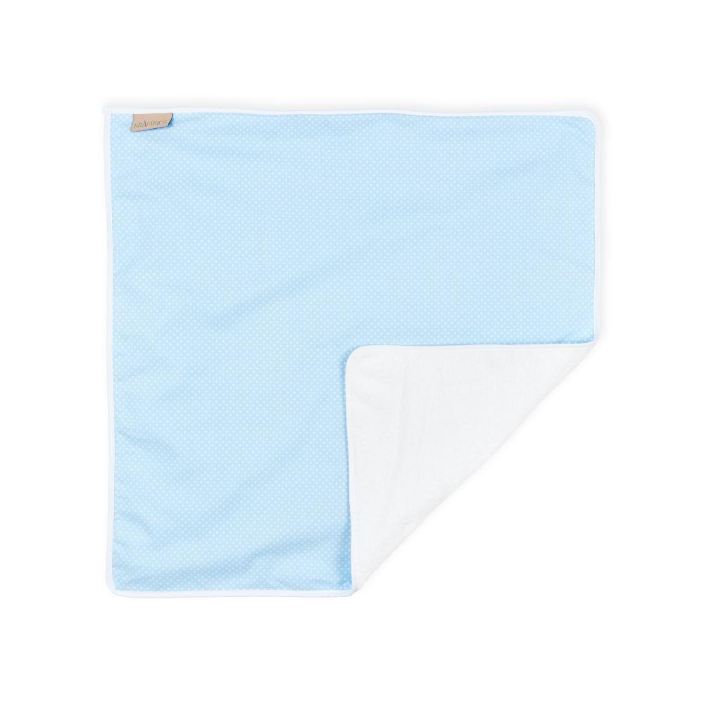 KraftKids Wickelunterlage weiße Punkte auf Hellblau 3 Lagen wasserundurchlässig weich Frotte 100% Baumwolle
