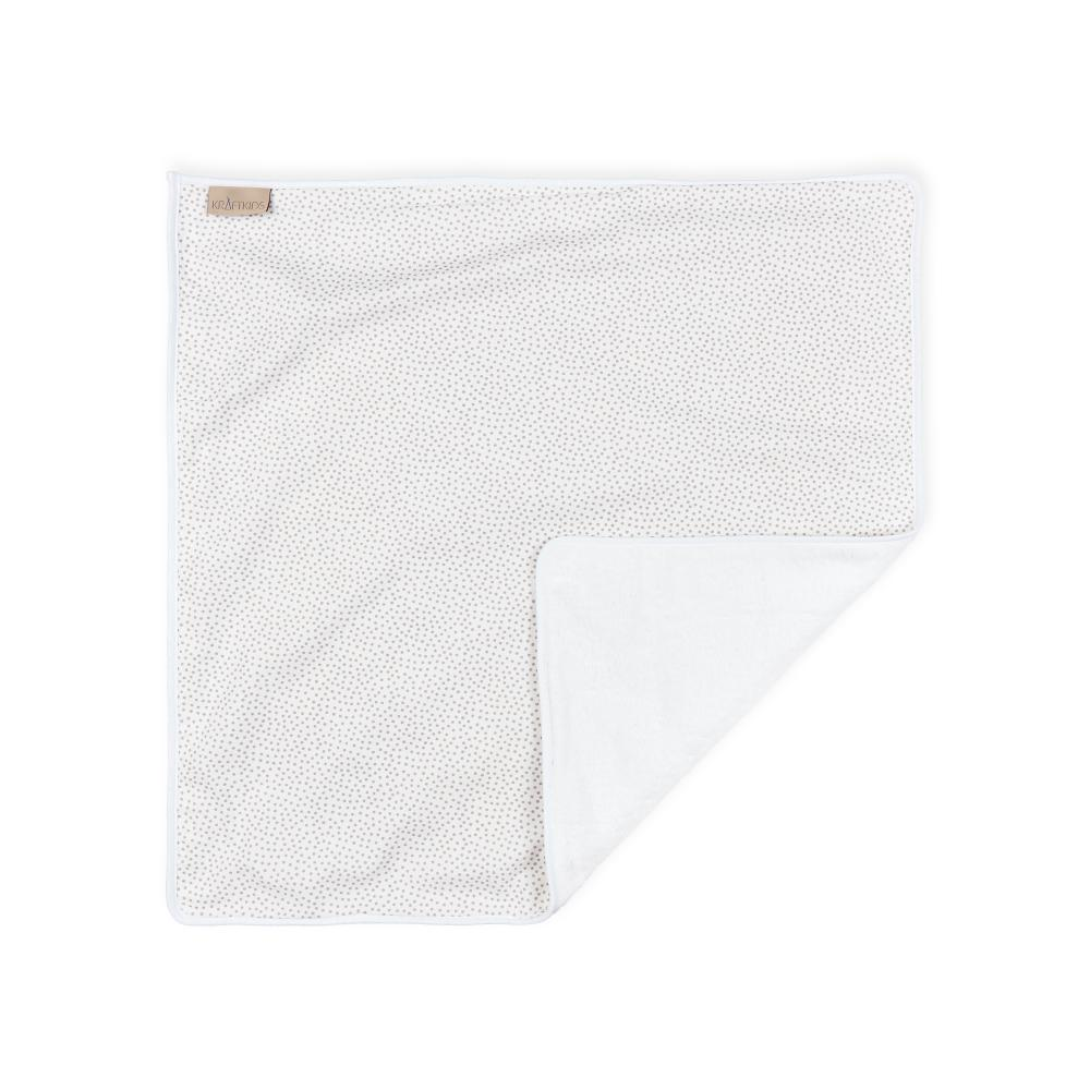 KraftKids Wickelunterlage graue unregelmäßige Punkte auf Weiß 3 Lagen wasserundurchlässig weich Frotte 100% Baumwolle