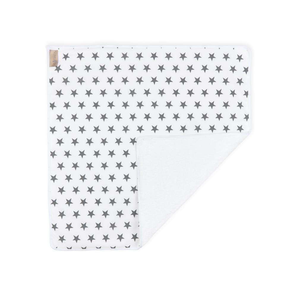 KraftKids Wickelunterlage kleine graue Sterne auf Weiss 3 Lagen wasserundurchlässig weich Frotte 100% Baumwolle