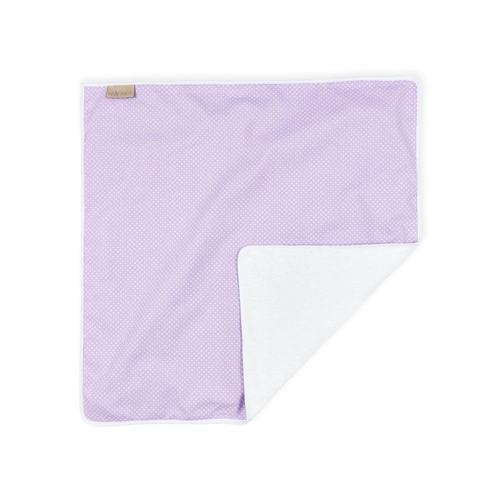 KraftKids Wickelunterlage weiße Punkte auf Lila 3 Lagen wasserundurchlässig weich Frotte 100% Baumwolle