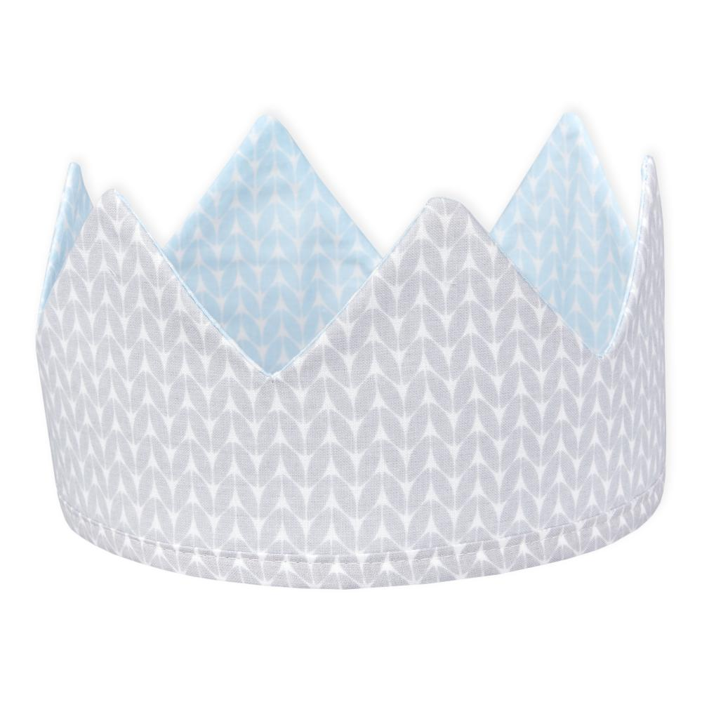 KraftKids Dekoration Stoffkrone kleine Blätter hellblau auf Weiß und weiße Punkte auf Grau