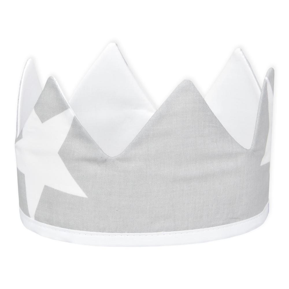 KraftKids Stoffkrone große weiße Sterne auf Grau