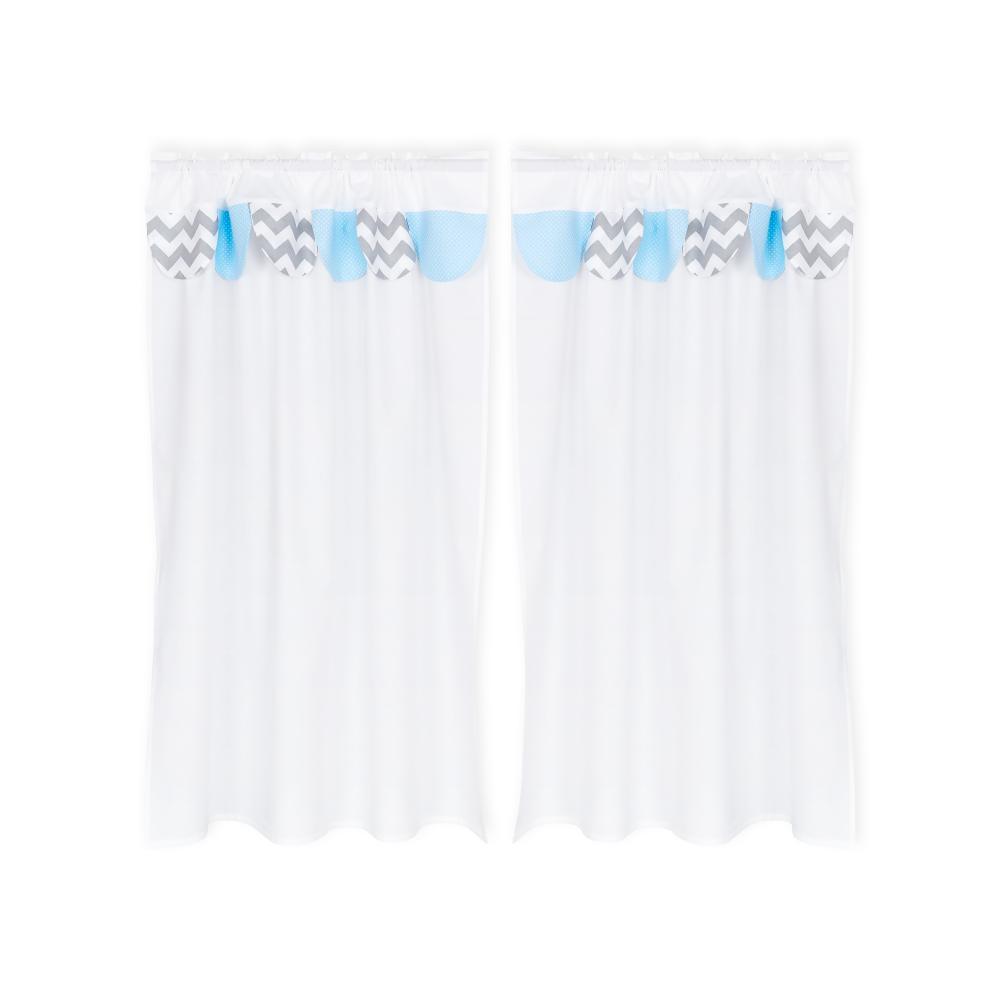 KraftKids Hochbettvorhänge weiße Punkte auf Hellblau und Chevron grau Inhalt: 2 Schals
