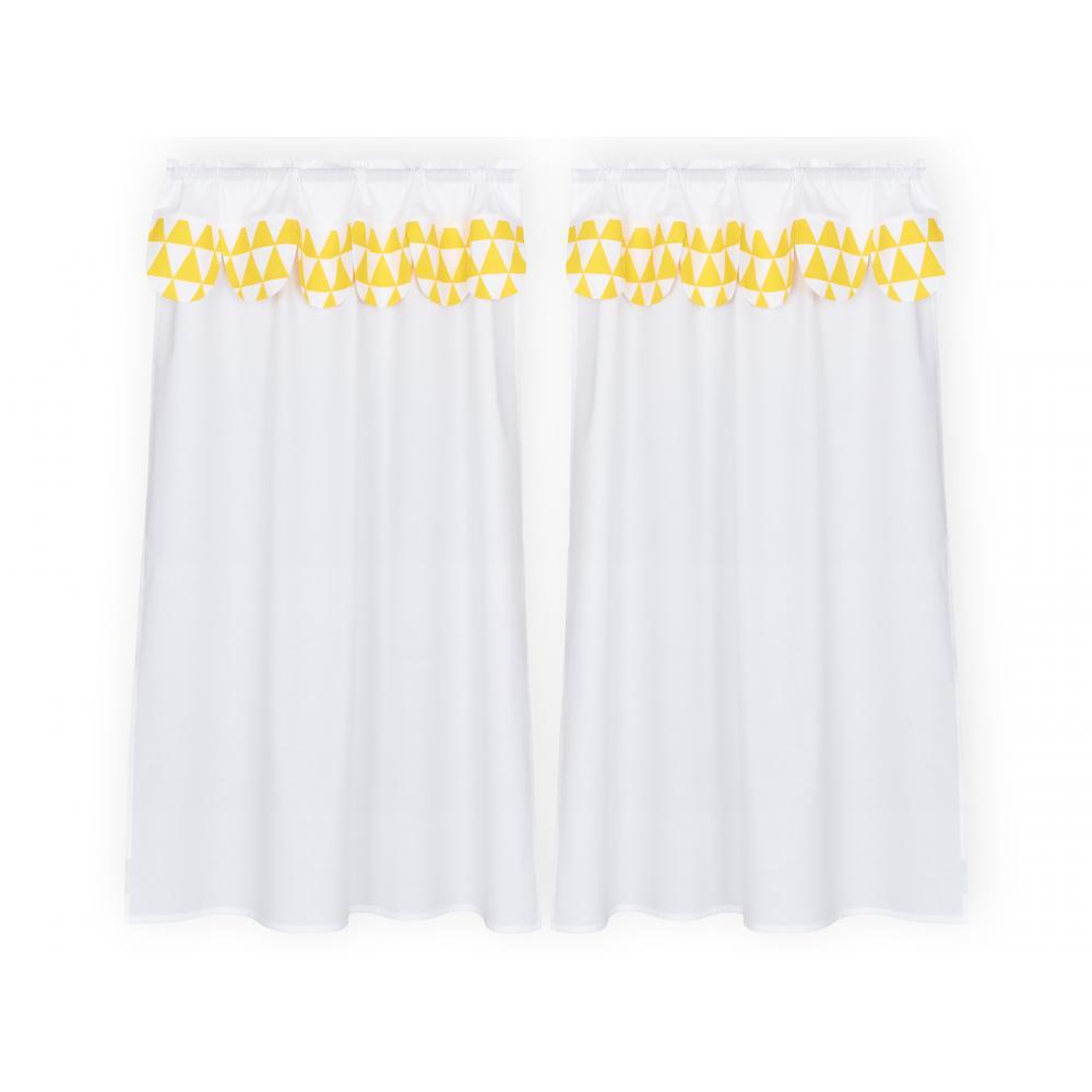 KraftKids Hochbettvorhänge Uniweiss und gelbe Dreiecke Inhalt: 2 Schals