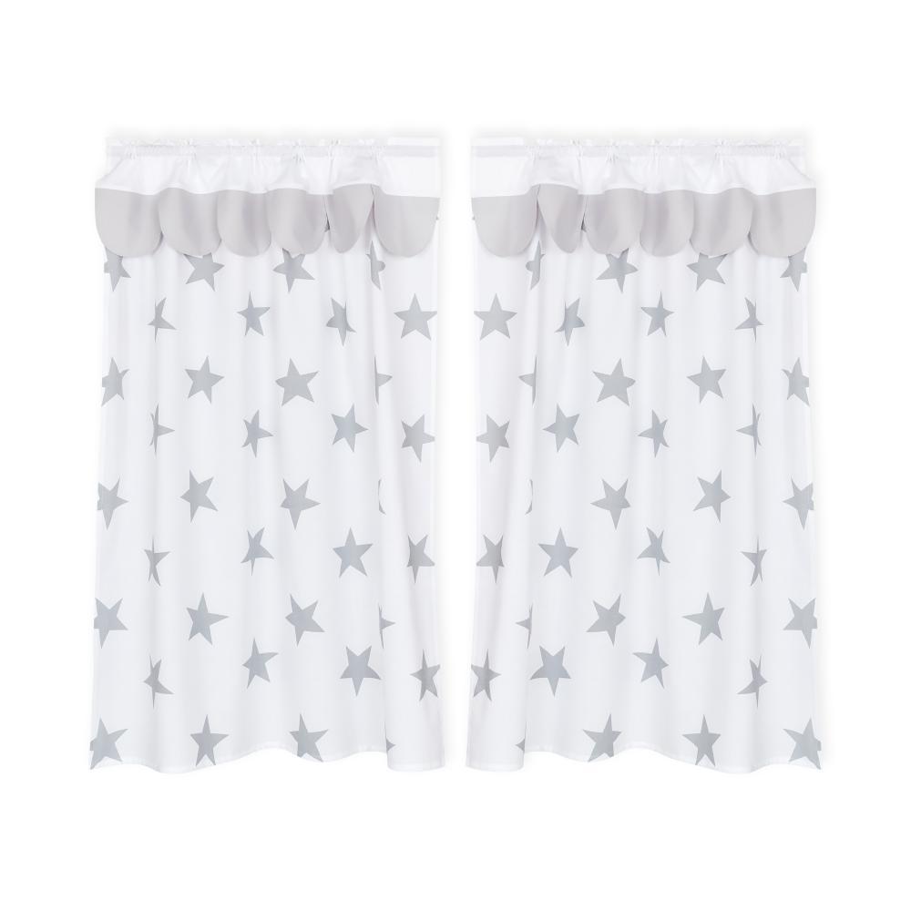 KraftKids Hochbettvorhänge große graue Sterne auf Weiss und Unigrau Inhalt: 2 Schals