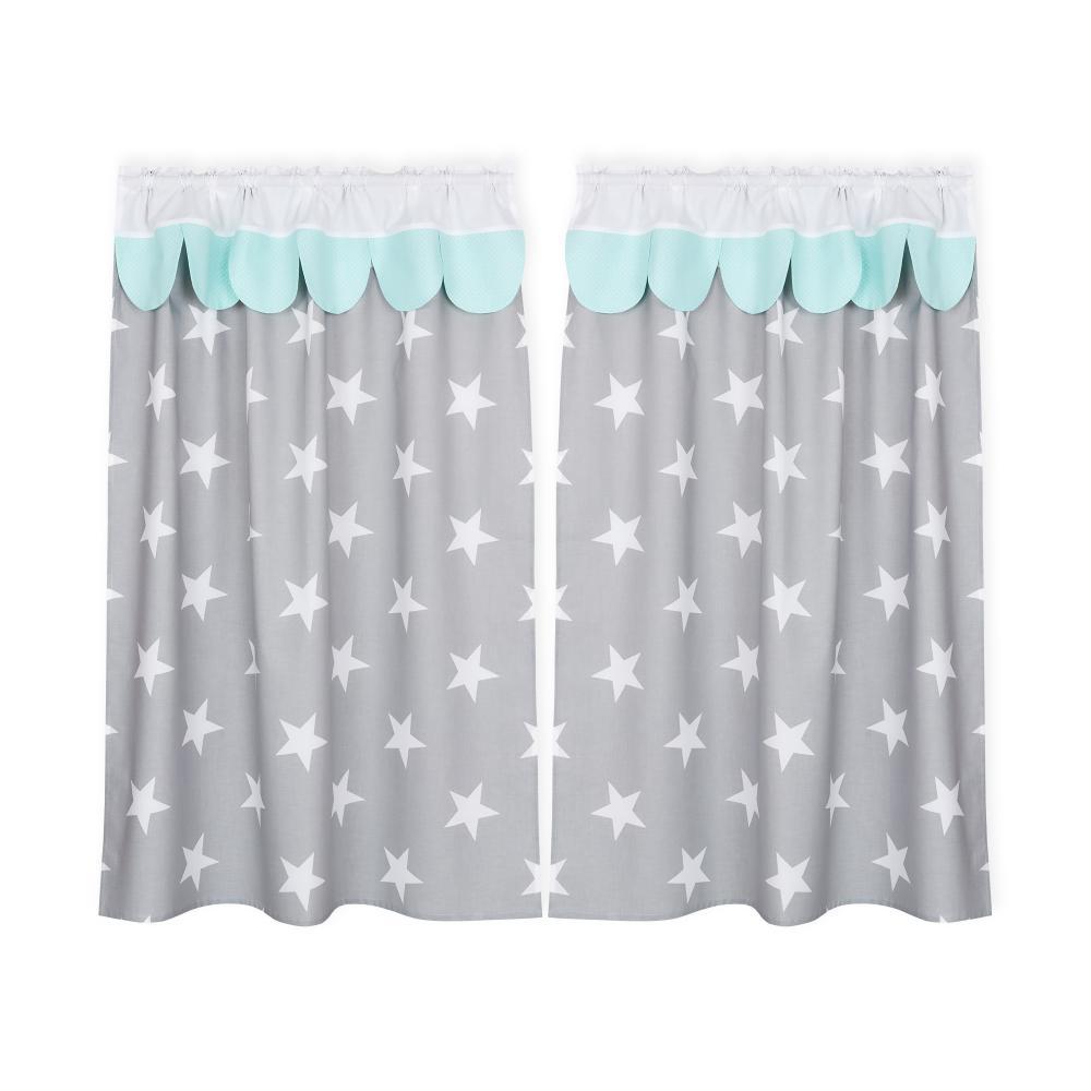 KraftKids Hochbettvorhänge große weiße Sterne auf Grau und weiße Punkte auf Mint Inhalt: 2 Schals