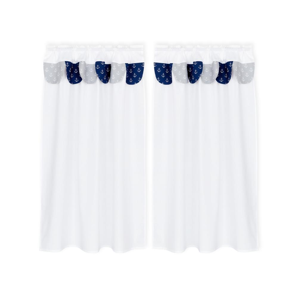 KraftKids Hochbettvorhänge weiße Anker auf Dunkelblau und weiße Anker auf Grau Inhalt: 2 Schals