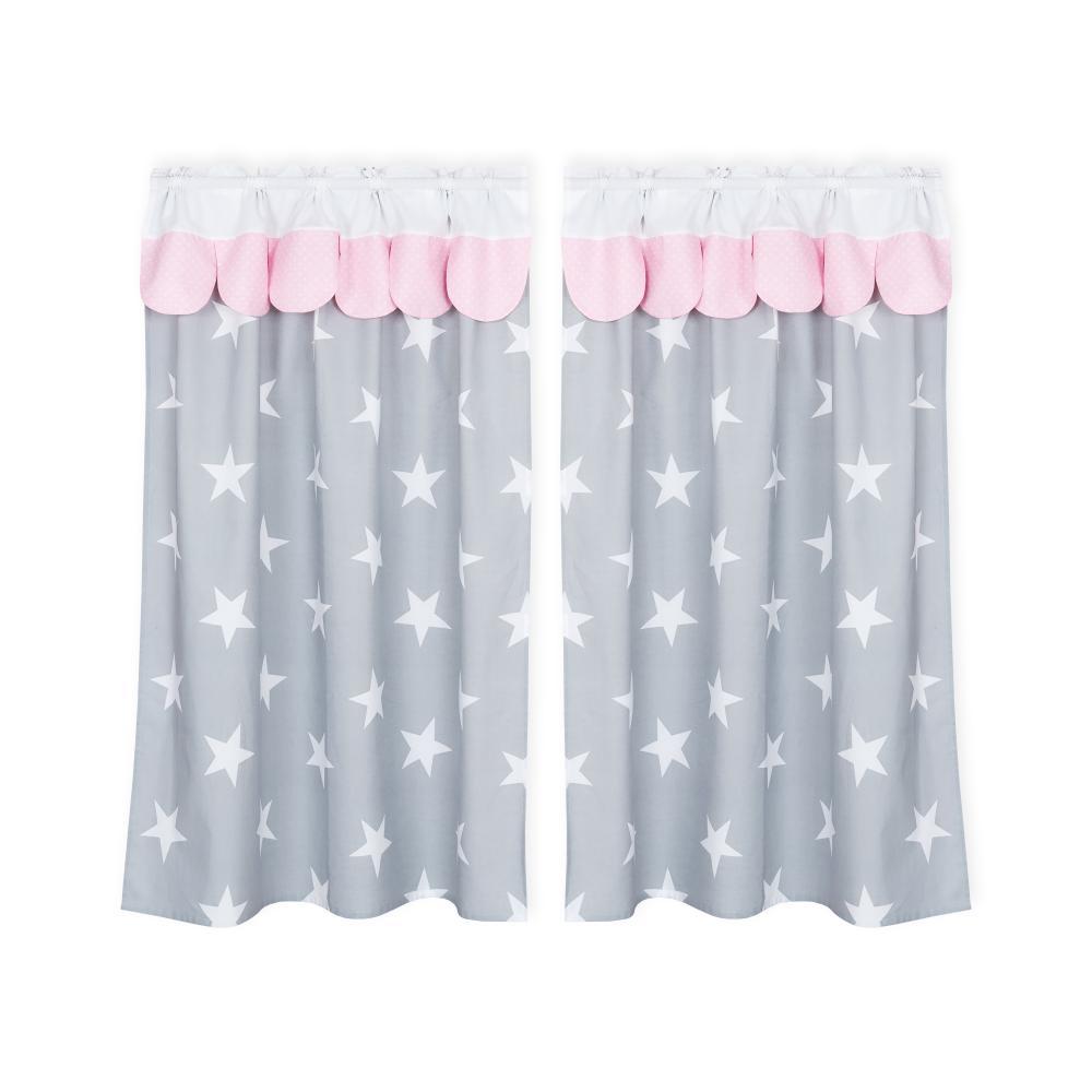 KraftKids Hochbettvorhänge große weiße Sterne auf Grau und weiße Punkte auf Rosa Inhalt: 2 Schals