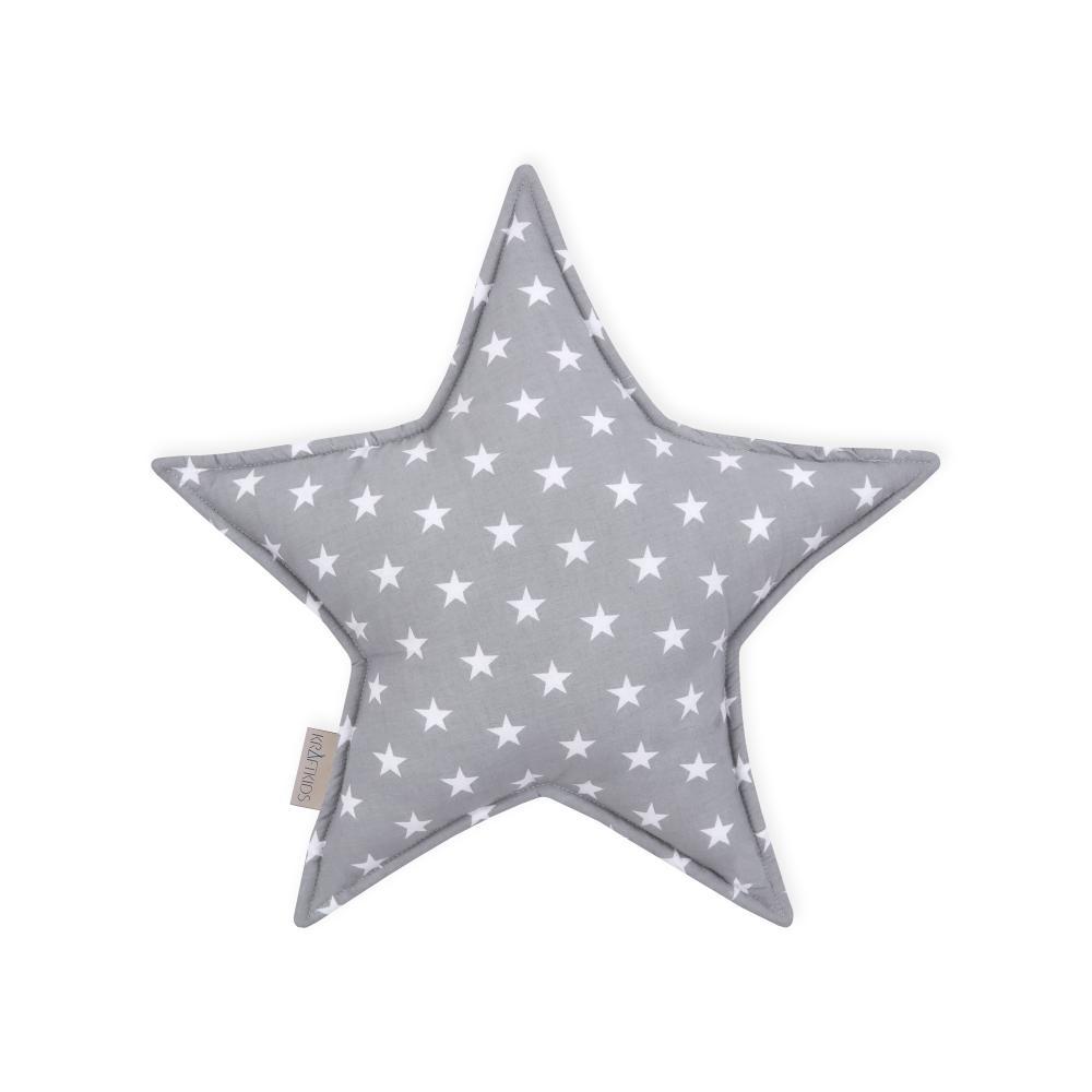 KraftKids Dekoration Sternkissen kleine weiße Sterne auf Grau