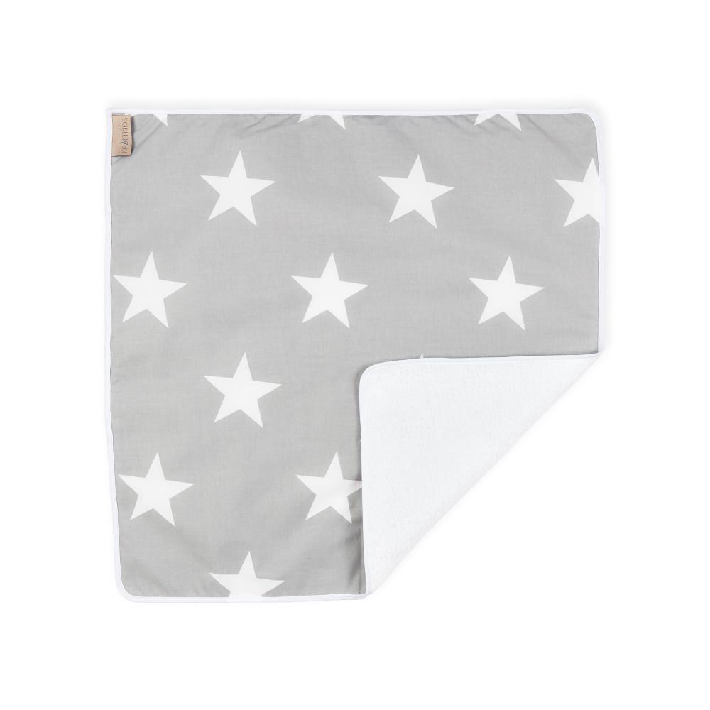 KraftKids Wickelunterlage große weiße Sterne auf Grau 3 Lagen wasserundurchlässig weich Frotte 100% Baumwolle