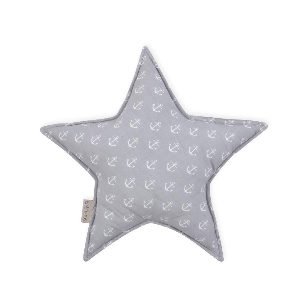 KraftKids Dekoration Sternkissen weiße Anker auf Grau