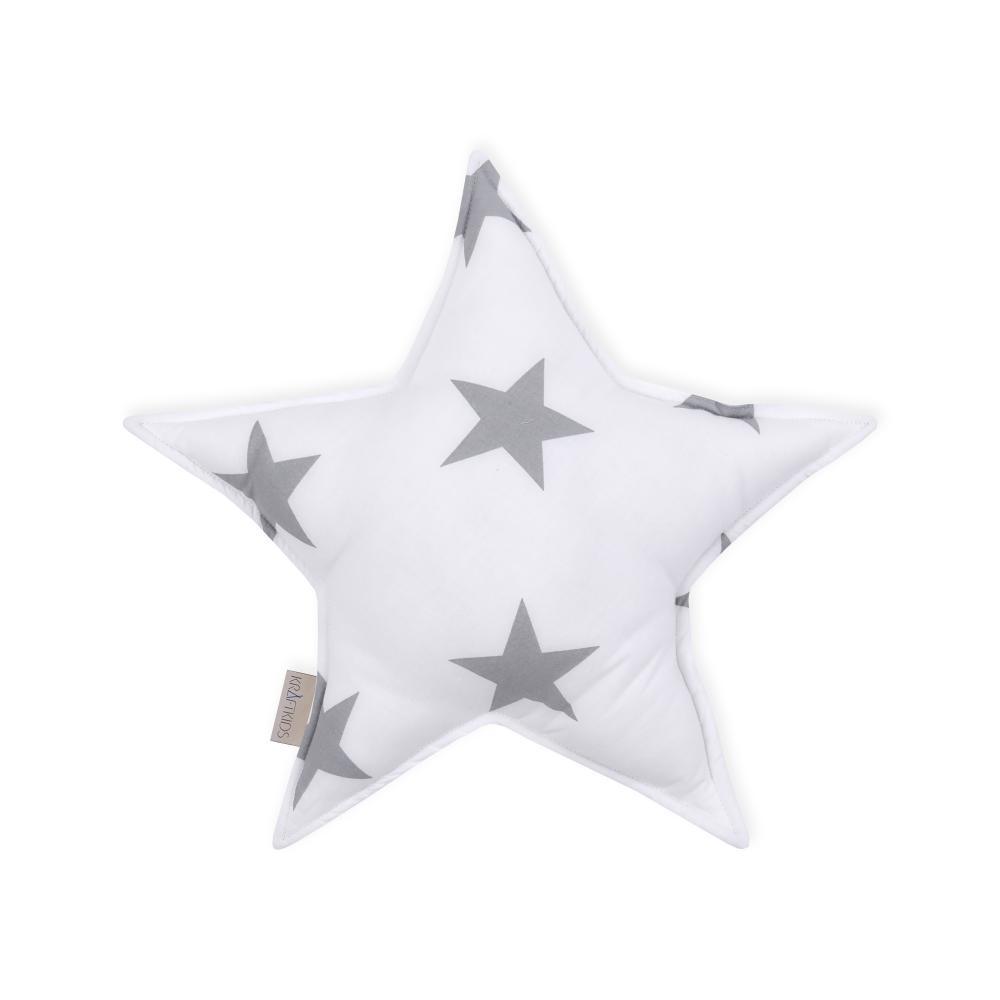 KraftKids Dekoration Sternkissen große graue Sterne auf Weiss