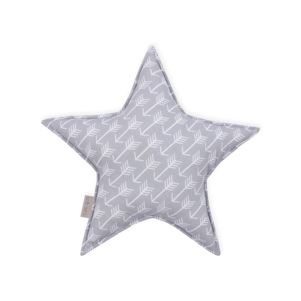 KraftKids Sternkissen weiße Pfeile auf Grau