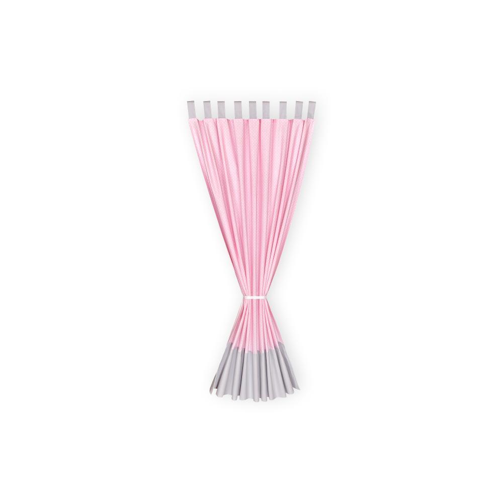 KraftKids Gardinen Unigrau und weiße Punkte auf Rosa Länge: 170 cm