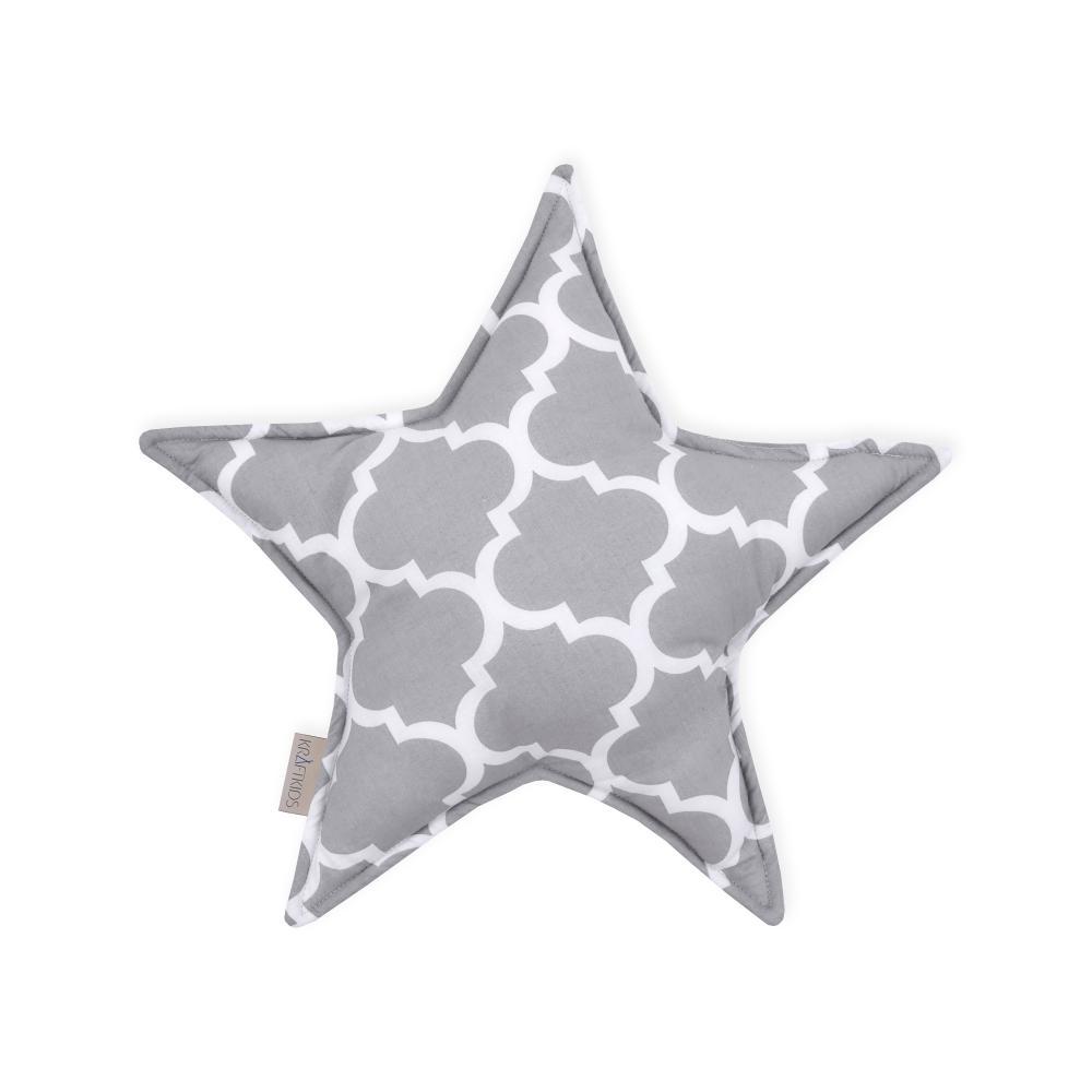 KraftKids Dekoration Sternkissen marokkanisches Klee grau