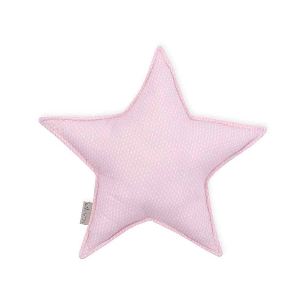 KraftKids Sternkissen kleine Blätter rosa auf Weiß