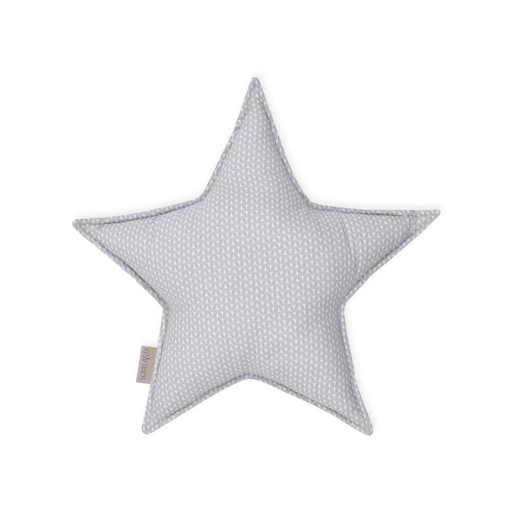 KraftKids Dekoration Sternkissen kleine Blätter hellgrau auf Weiß
