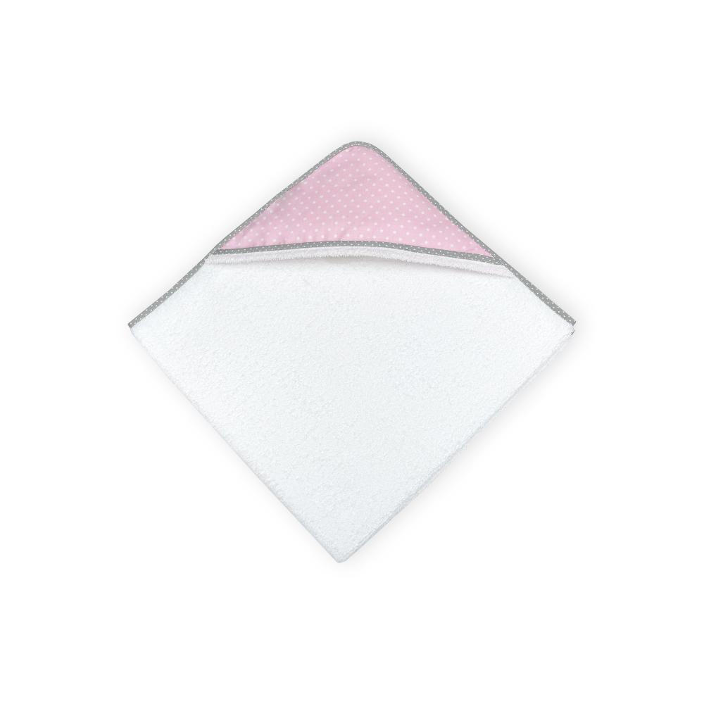 KraftKids Kapuzenhandtuch weiße Punkte auf Rosa