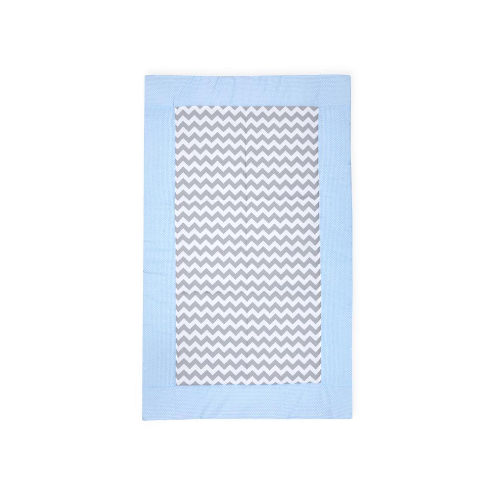 KraftKids Tagesdecke weiße Punkte auf Hellblau und Chevron grau