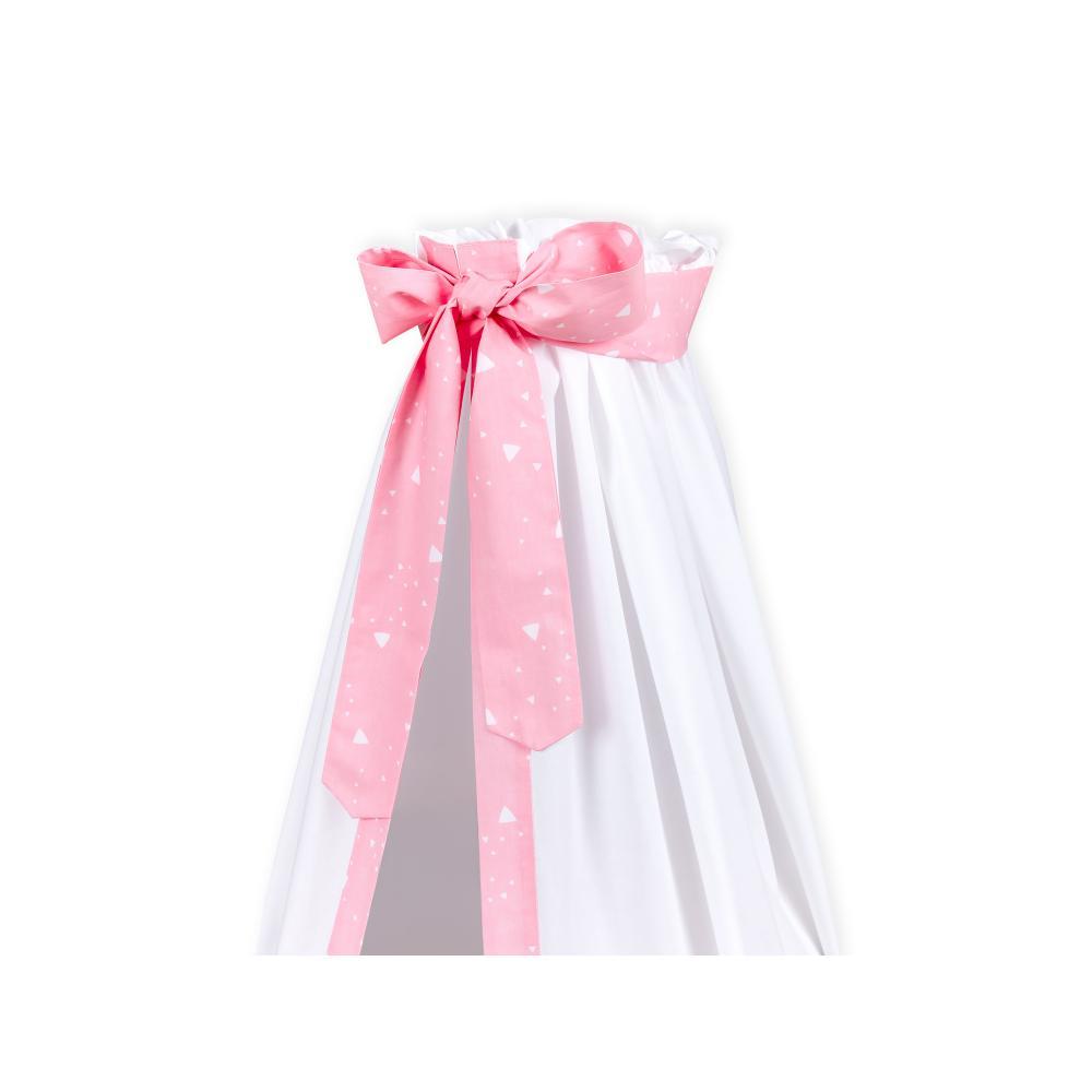 KraftKids Betthimmel abgerundete Dreiecke weiß auf Rosa
