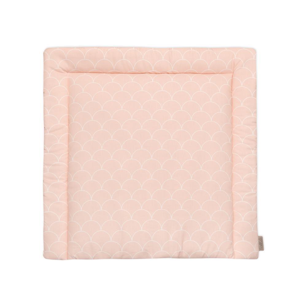 KraftKids Wickelauflage weiße Halbkreise auf Pastelrosa 85 cm breit x 75 cm tief