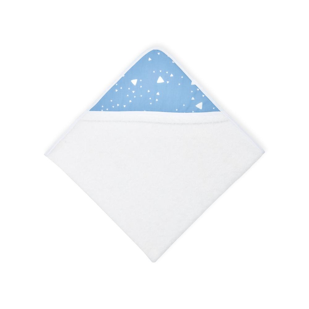 KraftKids Kapuzenhandtuch abgerundete Dreiecke weiß auf Blau