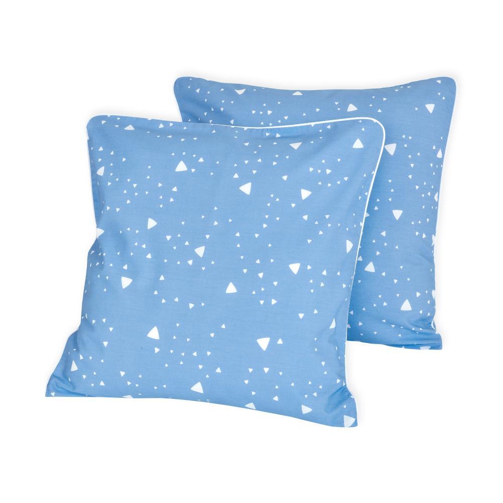 KraftKids Kissenbezug abgerundete Dreiecke weiß auf Blau
