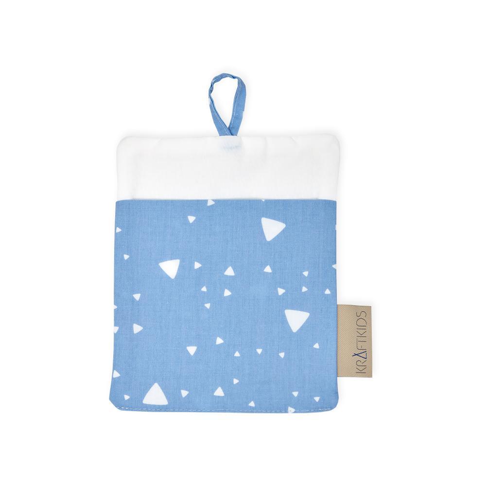 KraftKids Waschlappen abgerundete Dreiecke weiß auf Blau