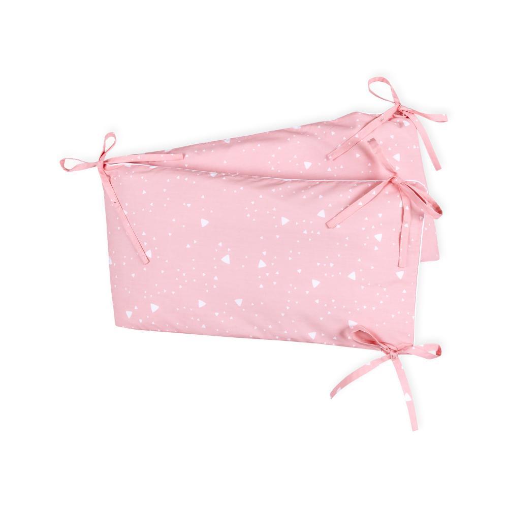 KraftKids Nestchen abgerundete Dreiecke weiß auf Rosa Nestchenlänge 60-70-60 cm für Bettgröße 140 x 70 cm