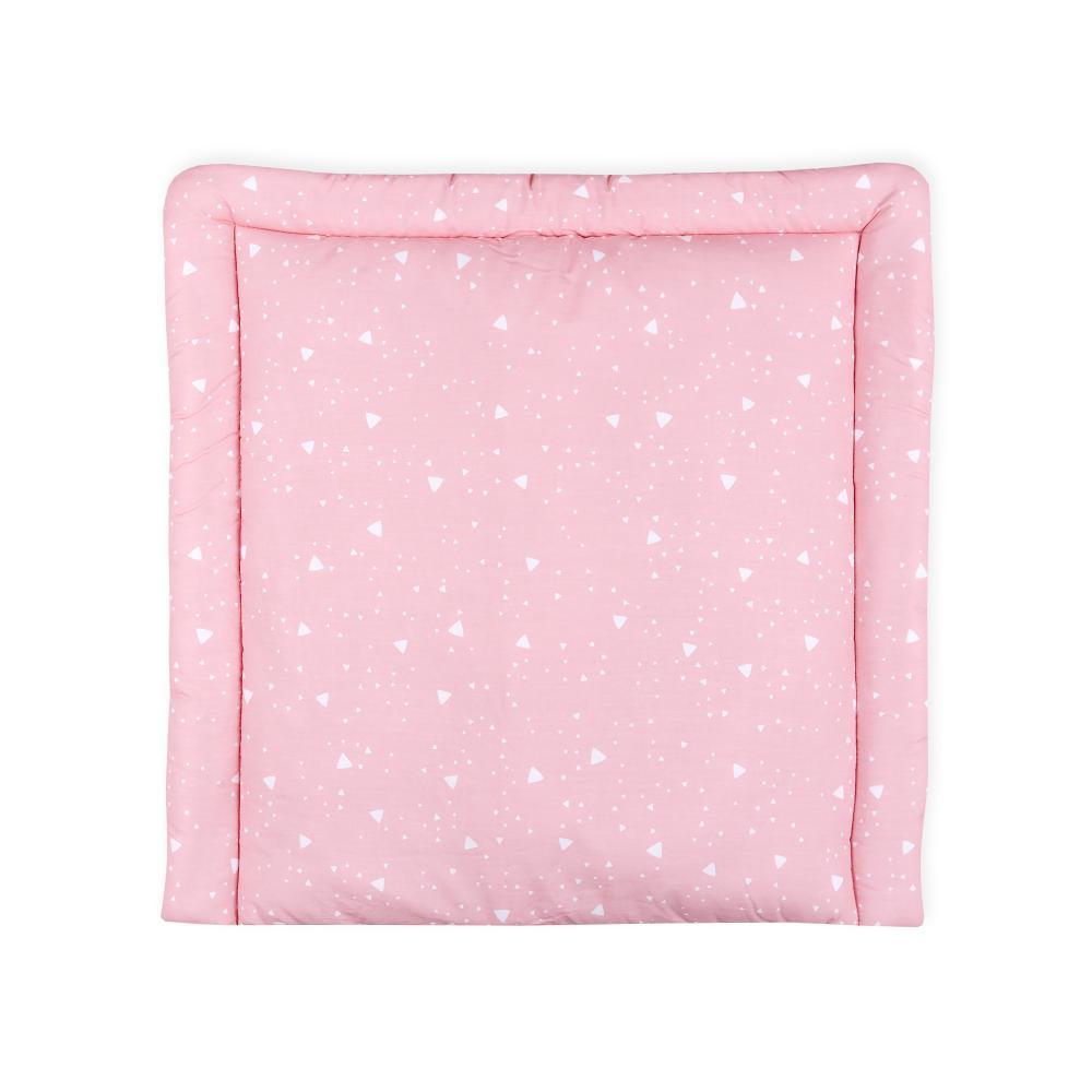 KraftKids Wickelauflage abgerundete Dreiecke weiß auf Rosa breit 75 x tief 70 cm