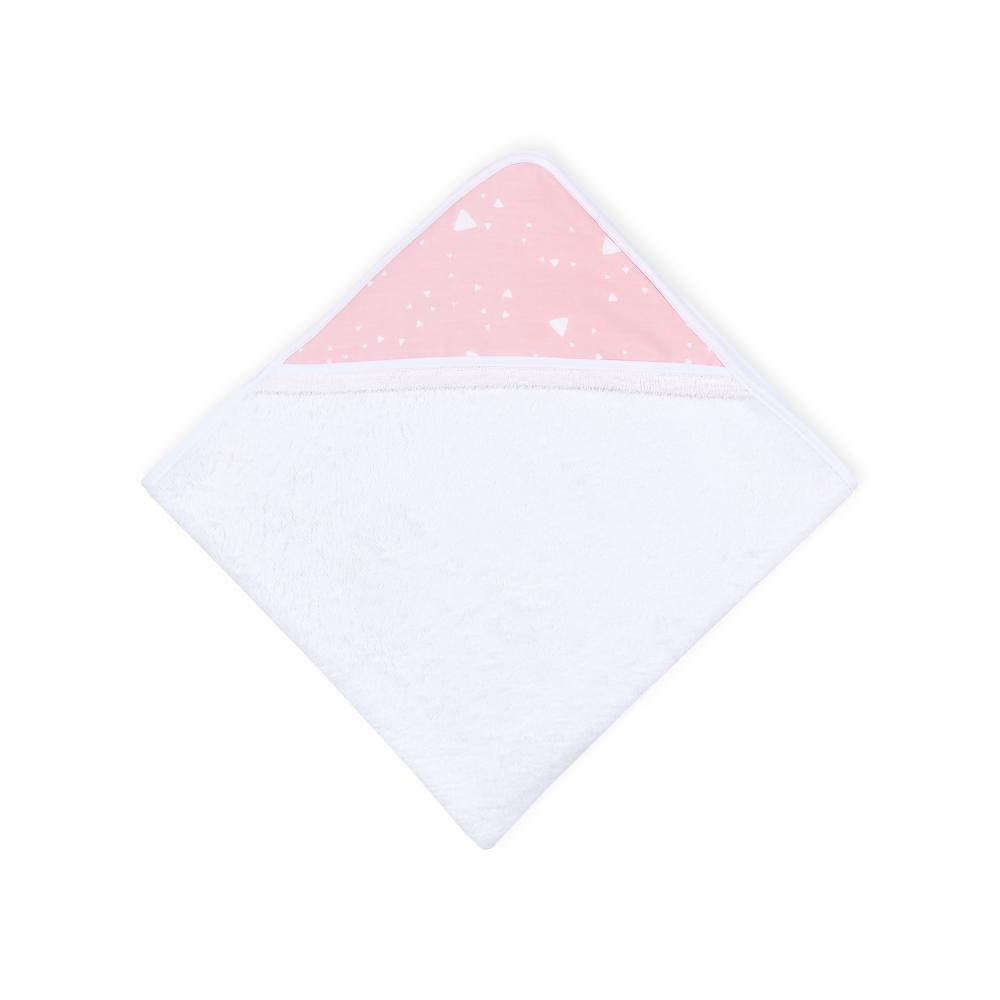 KraftKids Kapuzenhandtuch abgerundete Dreiecke weiß auf Rosa