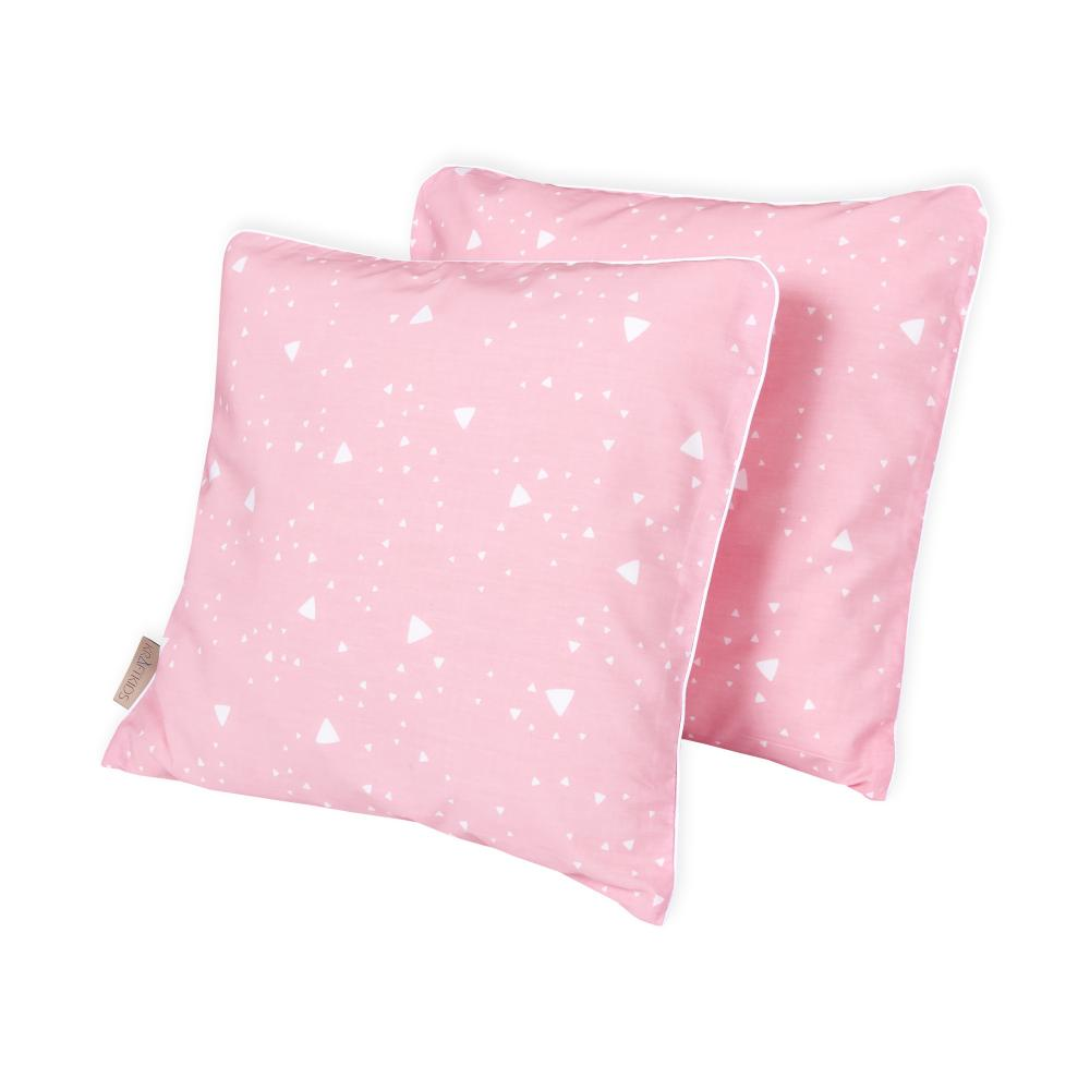KraftKids Kissenbezug abgerundete Dreiecke weiß auf Rosa
