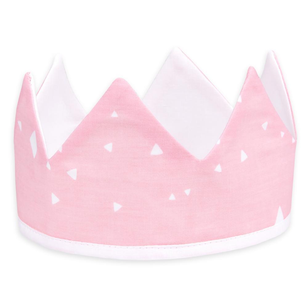 KraftKids Dekoration Stoffkrone abgerundete Dreiecke weiß auf Rosa