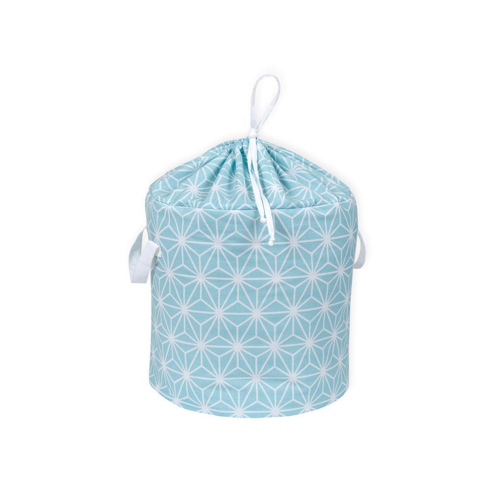 KraftKids Spielzeugkorb weiße Diamante auf Pastel Blau
