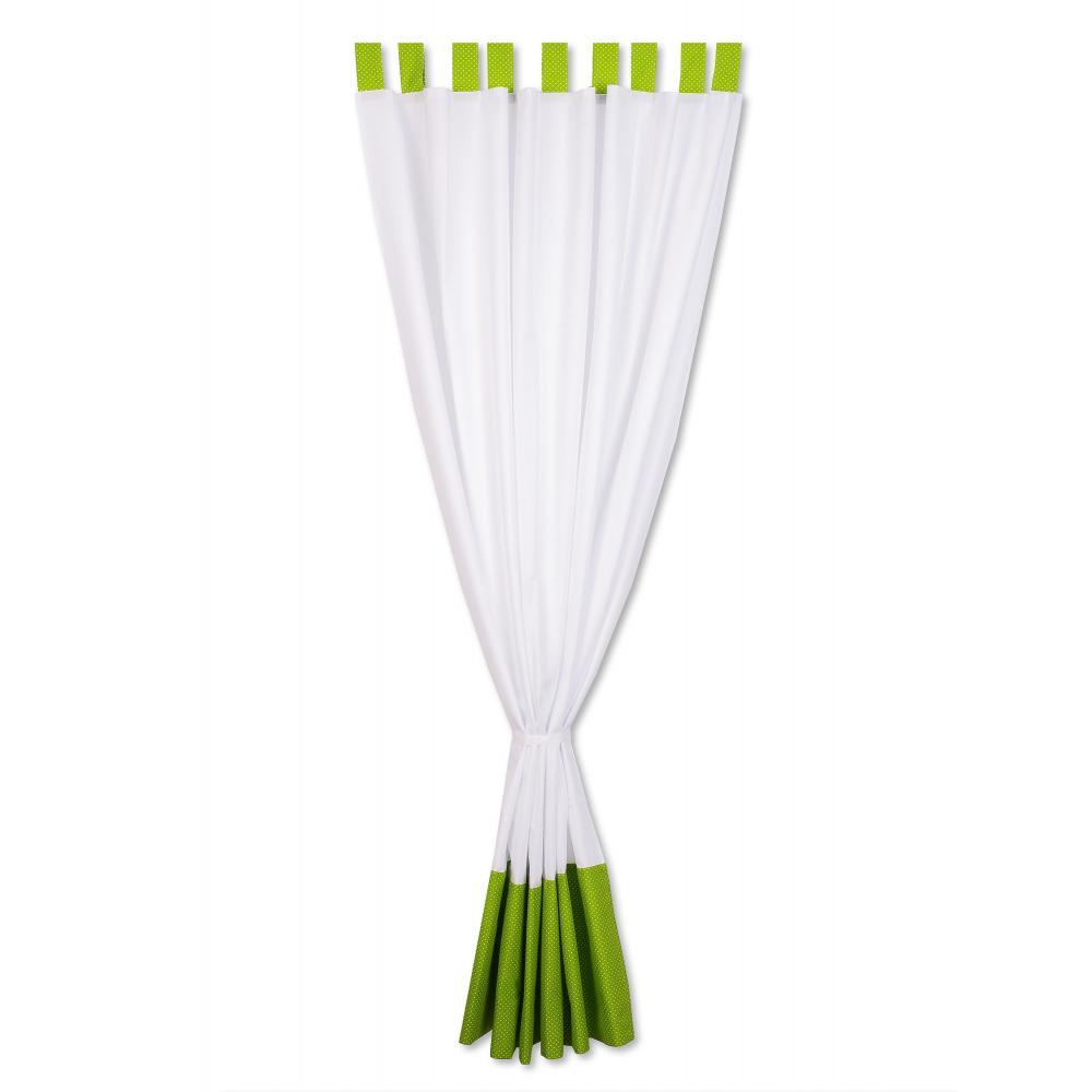 KraftKids Gardinen Uniweiss und weiße Punkte auf Grün Länge: 170 cm