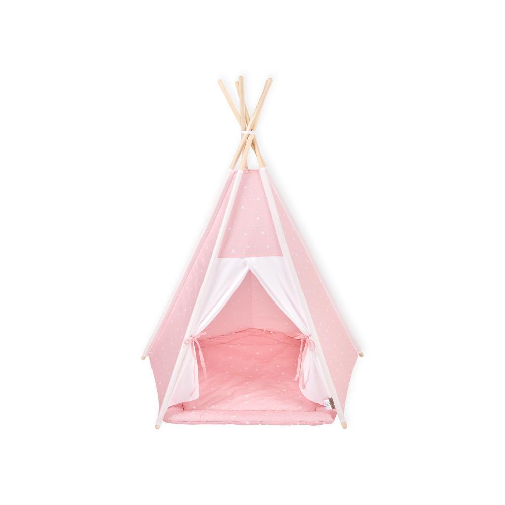 KraftKids Spielzelt Tipi Uniweiss und abgerundete Dreiecke weiß auf Rosa inkl. Spielmatte und 2 Sternkissen