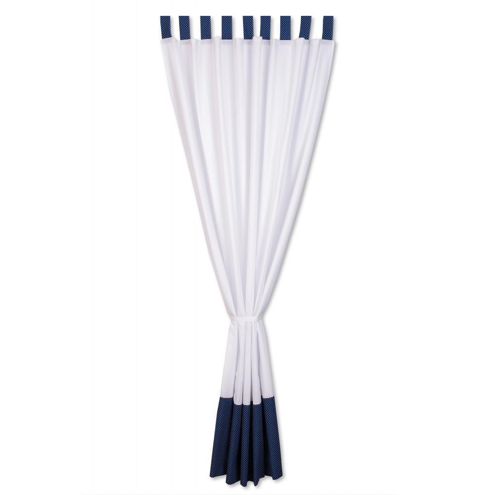 KraftKids Gardinen Uniweiss und weiße Punkte auf Dunkelblau Länge: 230 cm