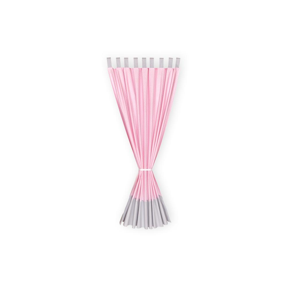 KraftKids Gardinen Unigrau und weiße Punkte auf Rosa Länge: 230 cm