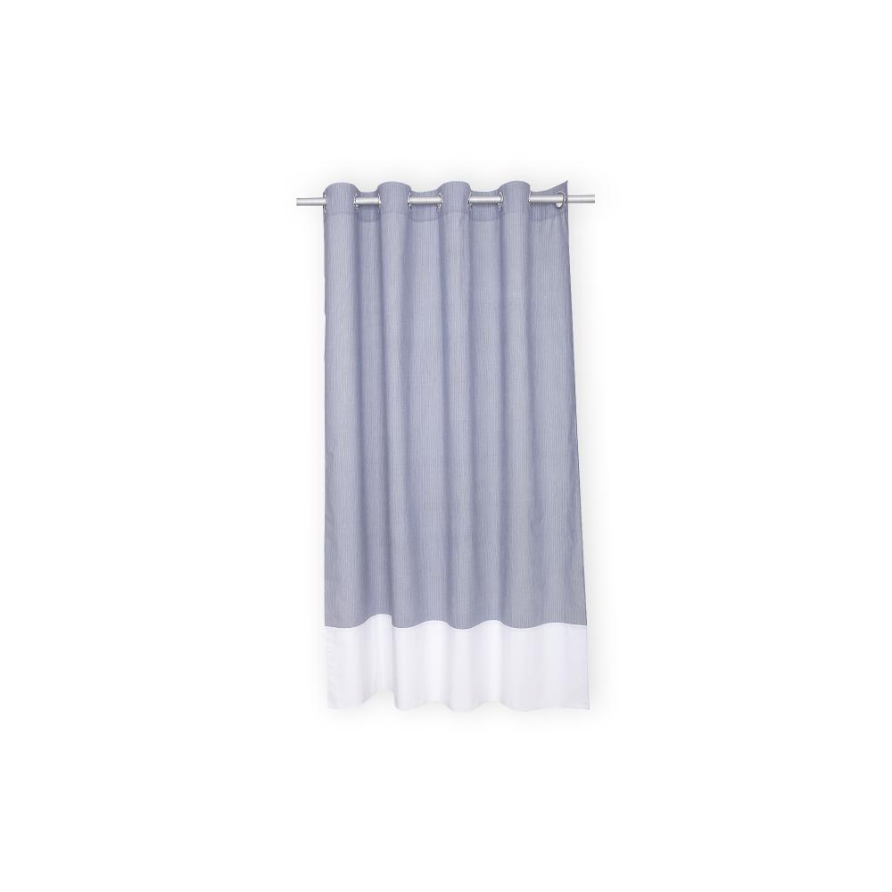 KraftKids Gardinen Uniweiss und dünne Streifen dunkelblau Länge: 230 cm