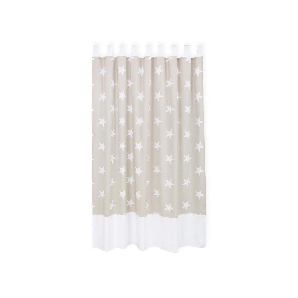 KraftKids Gardinen große weiße Sterne auf Beige Länge: 230 cm