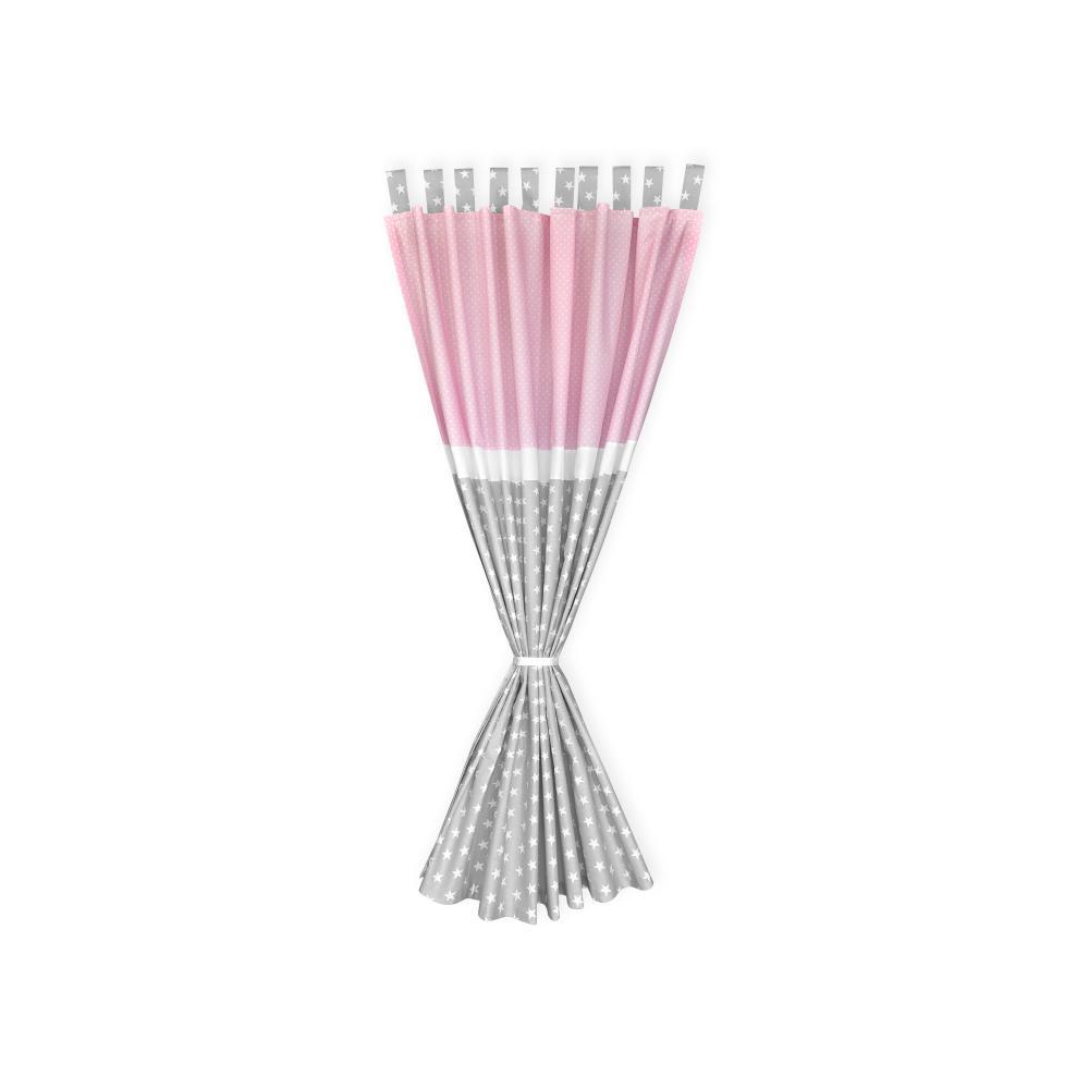 KraftKids Gardinen kleine weiße Sterne auf Grau und weiße Punkte auf Rosa Länge: 230 cm